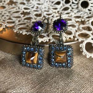 Vintage Sorrelli Crystal Dangle Drop Earrings